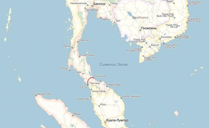 Тайский канал (проект) на карте Yandex.