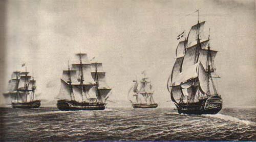Суда французской Ост-Индской компании в море.