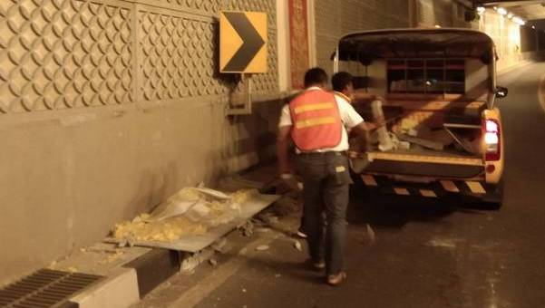 В тоннеле под кольцом Чалонга отвалился кусок облицовки. Фото: Департамент скоростных магистралей